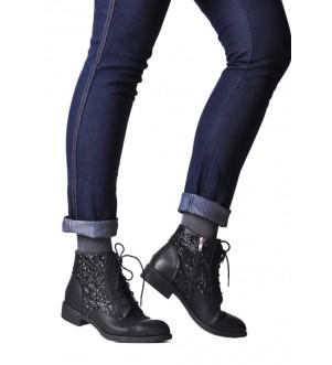 Buty damskie botki sznurowane