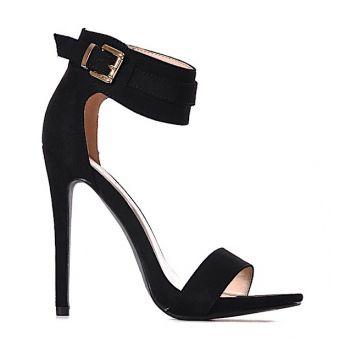 CZARNE szpilki eleganckie sandałki