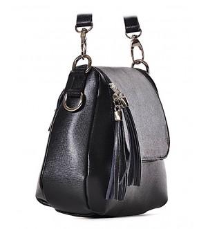 Mała czarna torebka z frędzlami na pasku PINA