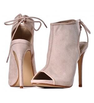 NUDE sandały damskie na szpilce wiązane