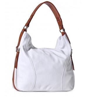 Włoska torba damska ze skóry biała SARA