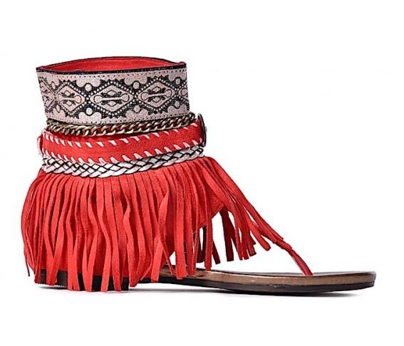 Torebka Czerwone sandały damskie na płaskim z frędzlami 99 zł