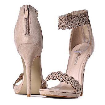 Beżowe sandały damskie szpilki z kryształkami
