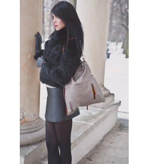 Skórzana torebka damska z kieszonką Charme