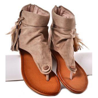 Beżowe sandałki damskie boho na płaskim