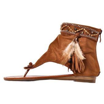 Brązowe sandały damskie zamszowe boho na płaskim