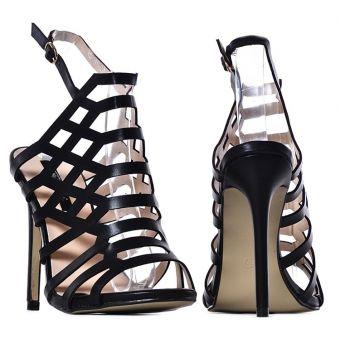 Brązowe szpilki damskie ażurowe sandały