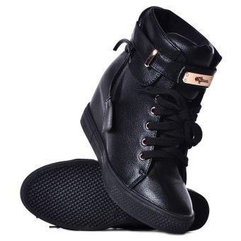 Czarne sneakersy damskie na koturnie
