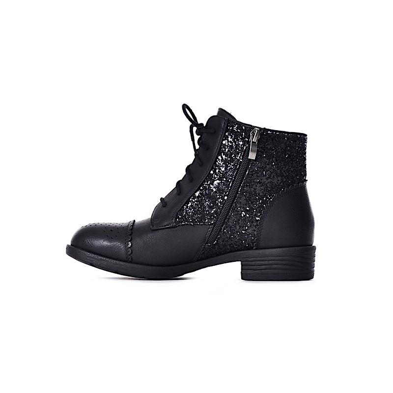 05427f12f23698 Czarne botki damskie sznurowane buty wiązane