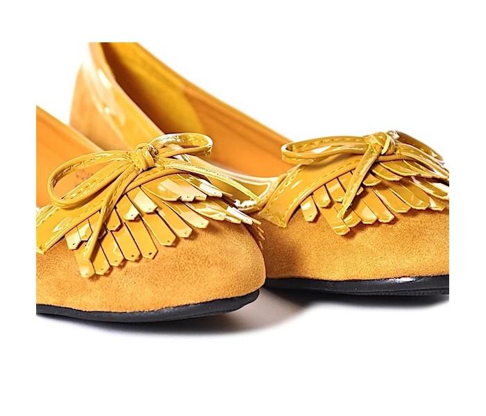 35e47412418137 Żółte balerinki damskie na płaskim zamszowe