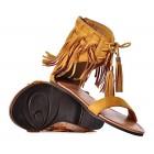 Żółte sandały damskie zamszowe z frędzlami boho