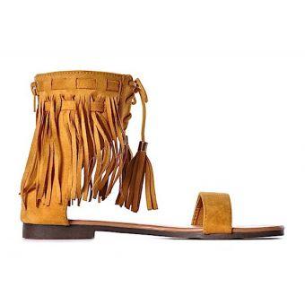 ŻÓŁTE sandały z frędzlami boho eleganckie do kostki