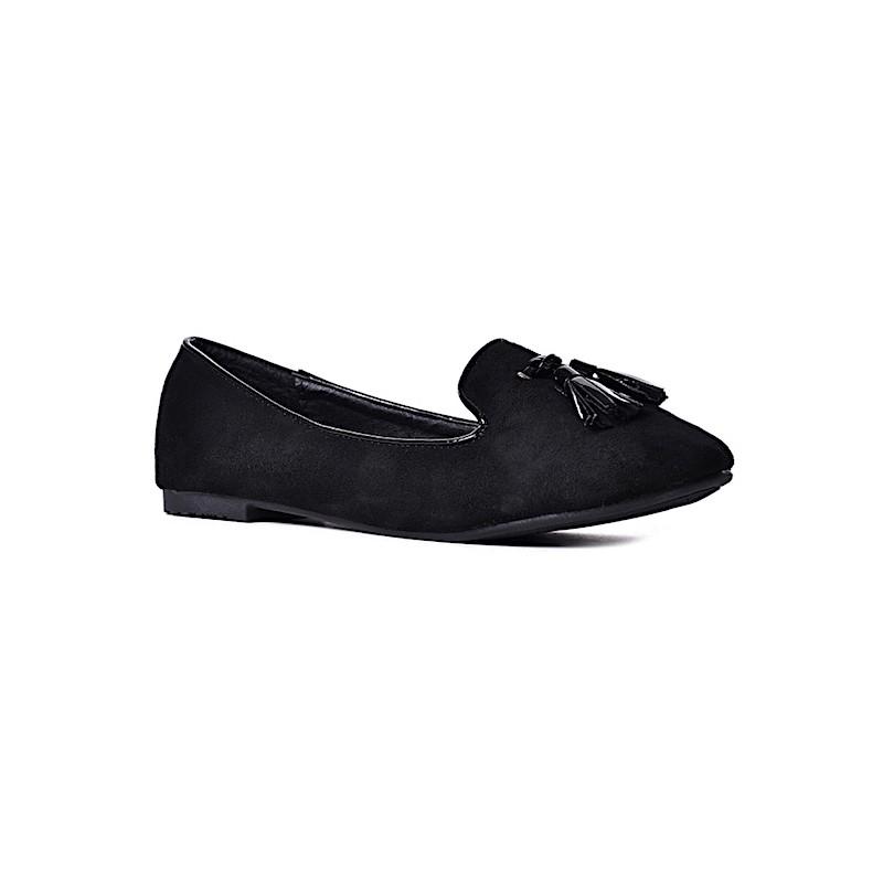 31217601f61f6 ... damskie eleganckie buty; CZARNE balerinki na płaskim obcasie ...