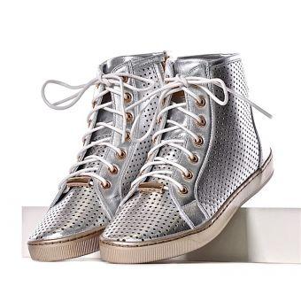 WIĄZANE trampki damskie sneakersy srebrne