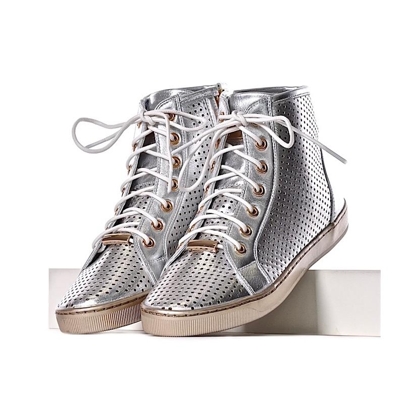 4fc235082d8f9 Srebrne trampki damskie płaskie · WIĄZANE trampki damskie sneakersy srebrne  ...