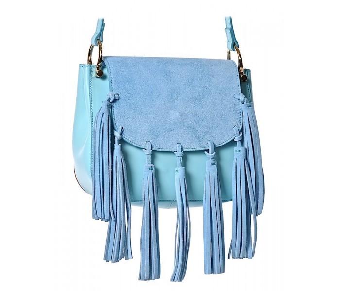f1d24d5d6060c Skórzana torba listonoszka boho z frędzlami niebieska