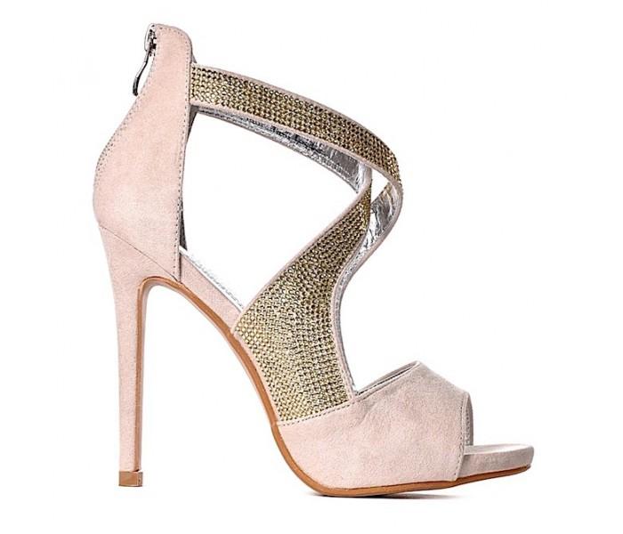 Sandały z kryształami eleganckie sandałki