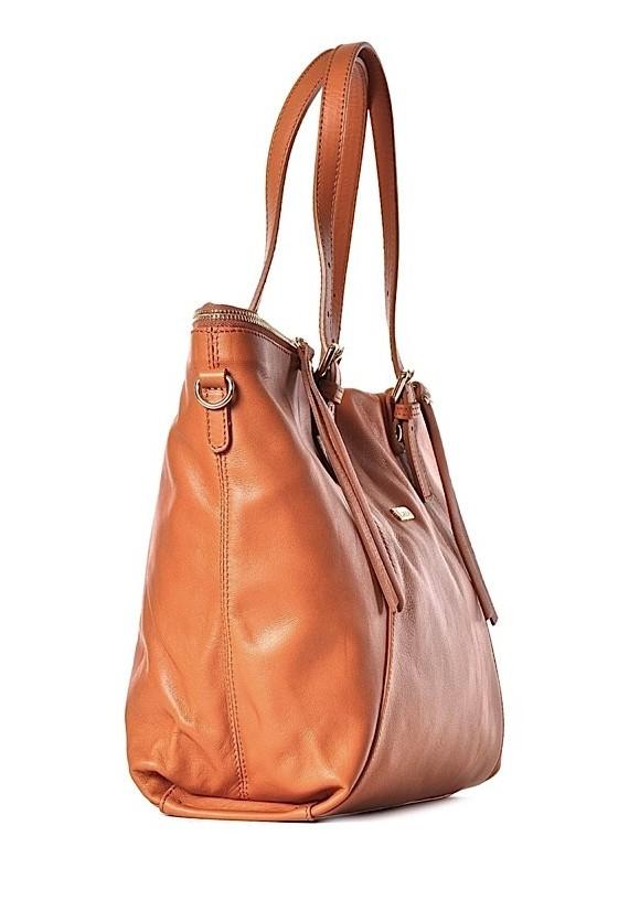 Duża torba damska skórzana brązowa