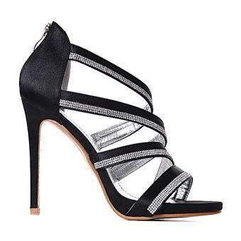 CZARNE szpilki sandały z kryształkami modne