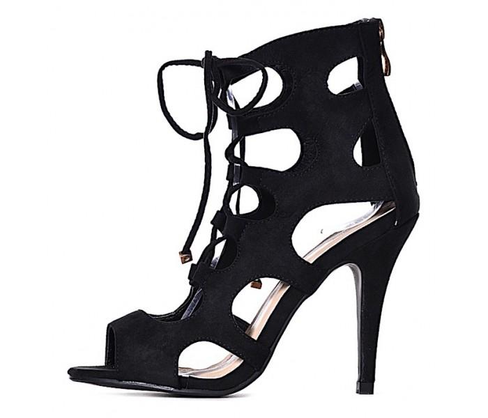 AŻUROWE czarne szpilki wiązane sandałki