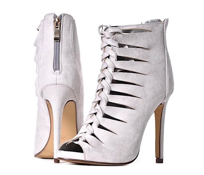 WIĄZANE szpilki damskie sandałki popielate
