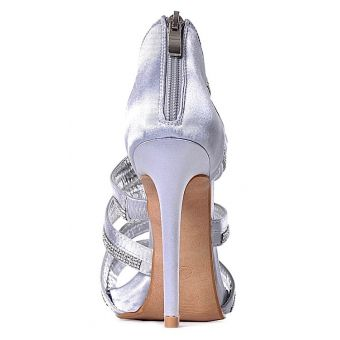SREBRNE szpilki sandały z kryształkami modne