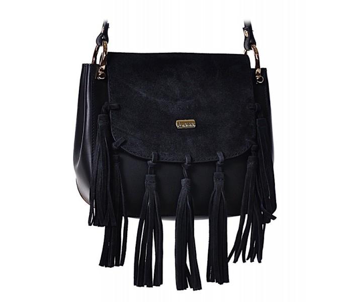 8974deeaedc45 Mała czarna torebka damska skórzana z frędzlami