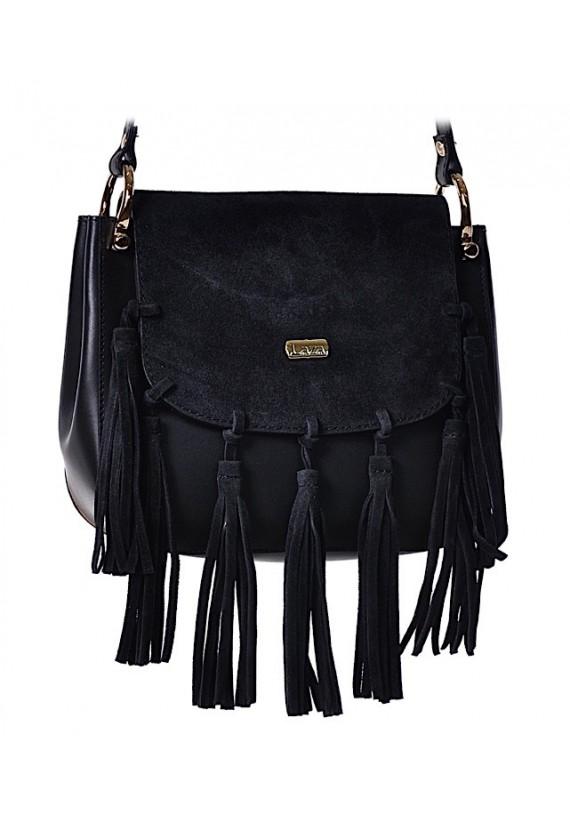 Mała czarna torebka damska skórzana z frędzlami