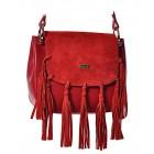 Włoska torebka listonoszka ze skóry czerwona