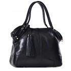 Skórzana czarna torba damska na ramię Cristina