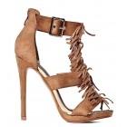 Sandały damskie na obcasie z frędzlami