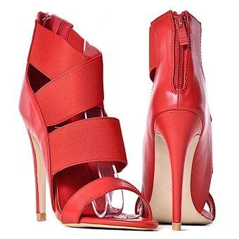 Czerwone szpilki sandały damskie