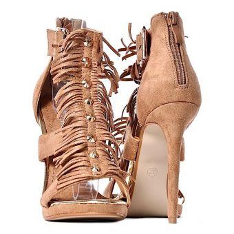 Szpilki sandały damskie z frędzlami