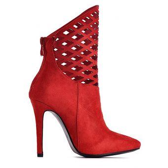 Czerwone ażurowe botki na obcasie