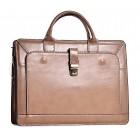 Skórzana torba damska beżowa na laptopa