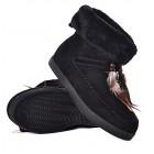Czarne botki damskie śniegowce z kożuszkiem