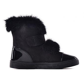 Czarne stylowe botki z futerkiem