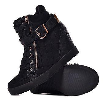 Czarne pikowana sneakersy z kryształkami