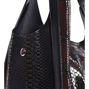 Czarna stylowa torebka wężowy wzór Federica