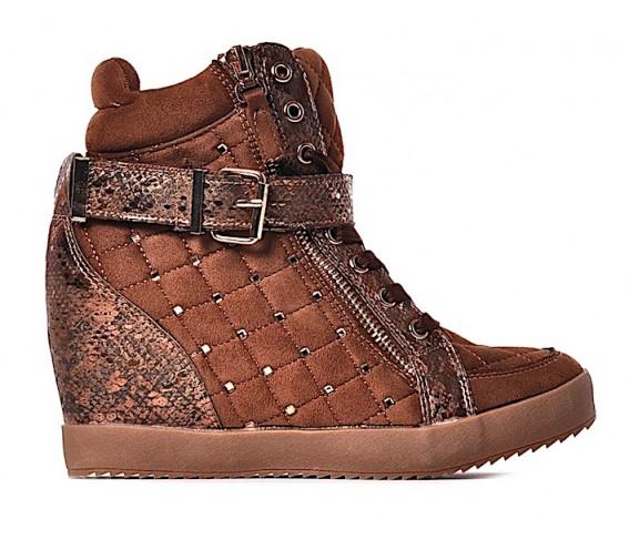 Rude pikowane sneakersy z kryształkami