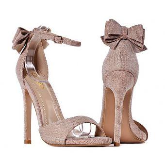 Szpilki damskie sandałki z kokardką złote