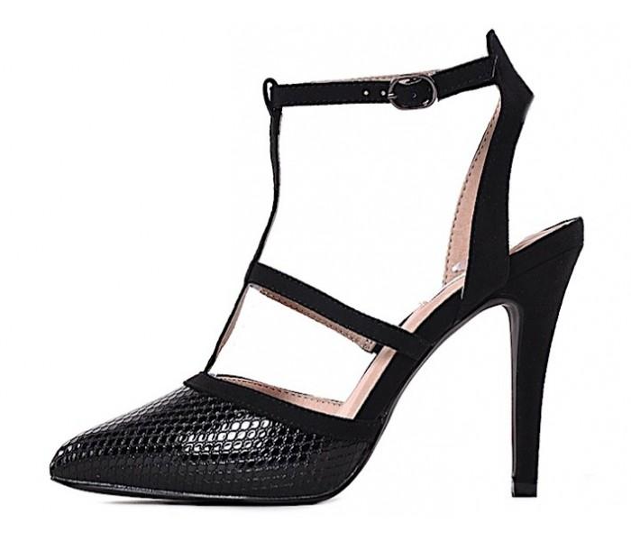 Wężowy wzór eleganckie czarne szpilki