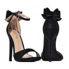 Czarne buty damskie na obcasie z kokardką