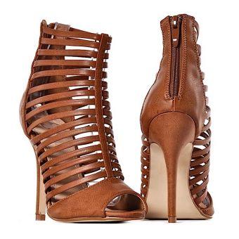Brązowe gladiatorki buty damskie na obcasie