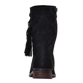 Czarne ażurowe botki damskie