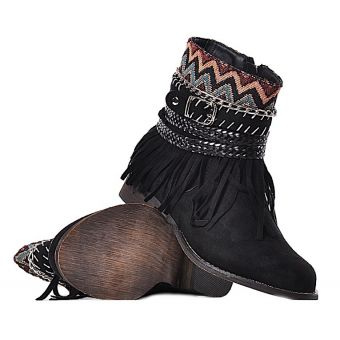 Czarne botki damskie boho na płaskim obcasie