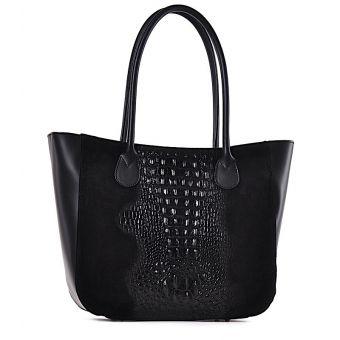 Czarna torebka damska shopper bag ze skóry