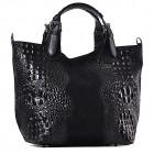 Czarna skórzana torba damska shopper Mirella