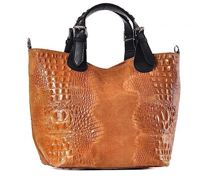a39db10e05566 Włoska skórzana torba damska shopper bag