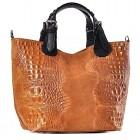 Włoska skórzana torba damska shopper bag